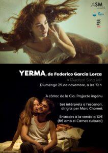 Tardes de teatre amb «Yerma» de Federico García Lorca a La Ràpita @ Auditori Sixto Mir