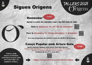 "Tallers ""Orígens"" 2021 @ La Ràpita"